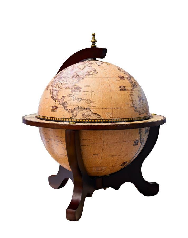 Im altem Stil Weltkugel - antike Weltkugel lokalisiert auf weißem Hintergrund Nahes hohes des Studios Zeigen von Amerika und von  lizenzfreies stockbild