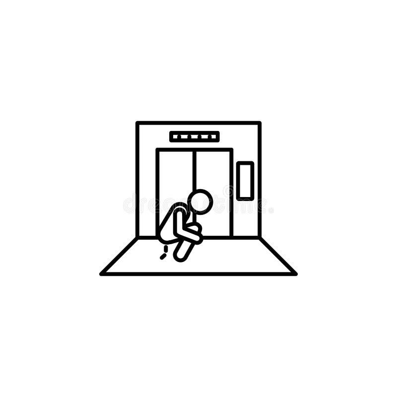 im Aufzug geschissene Ikone Element der Situation in der Aufzugsikone Erstklassige Qualitätsgrafikdesignikone Zeichen und Symbols vektor abbildung