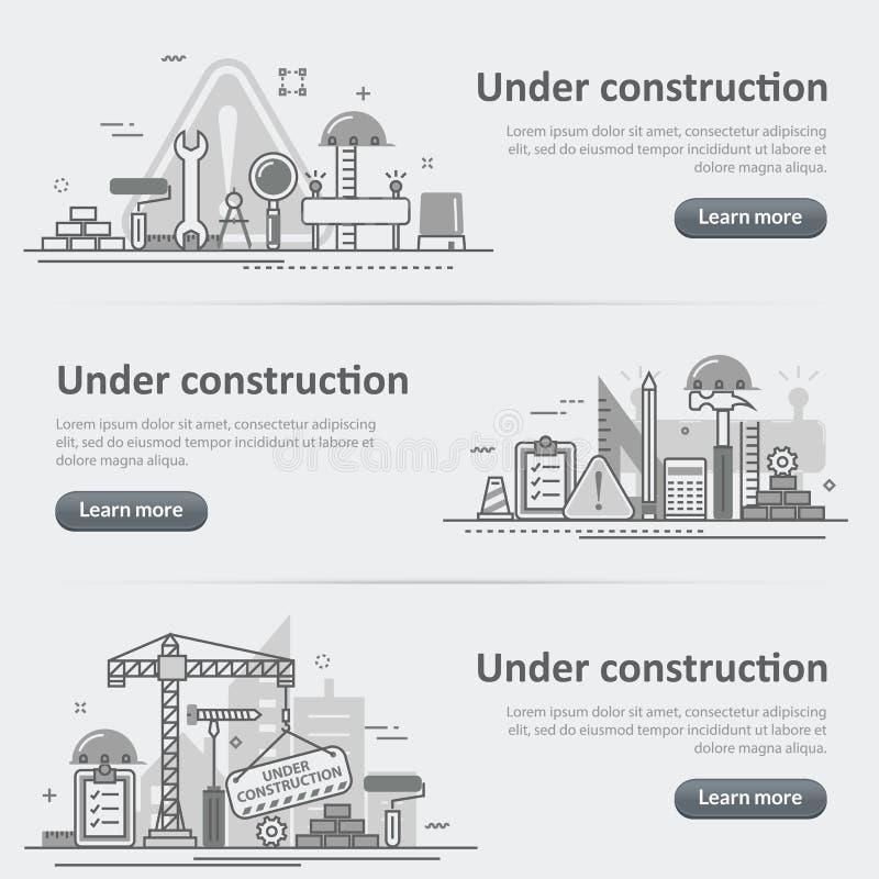 Im Bau Bauprozessnetz-Titelfahnensatz lizenzfreie abbildung