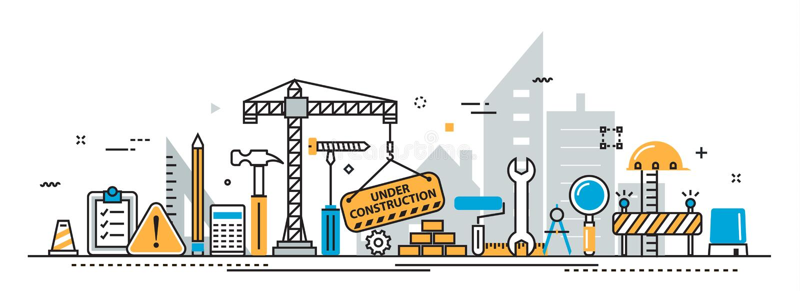 Im Bau Bauprozesstitelfahne für Landungsseite stock abbildung