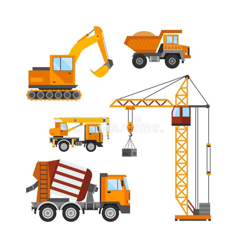 Im Bau errichtend, vector Arbeitskräfte und Bautechnik Illustration lizenzfreie abbildung