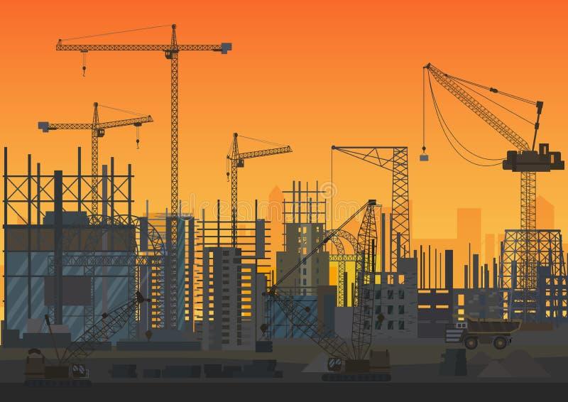 Im Bau Sonnenuntergangschattenbild der Bau-Skyline Websitekopf des neuen Stadtäußeren Auch im corel abgehobenen Betrag vektor abbildung