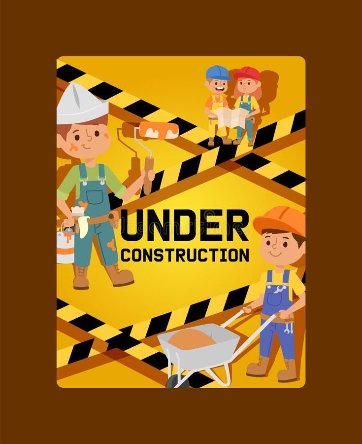 Im Bau Vektorerbauerkindererbauercharakter-Hochbau-Entwurfsillustrationshintergrund von vektor abbildung