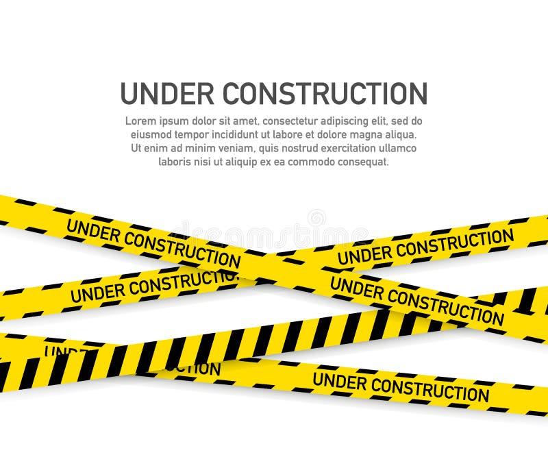 Im Bau Websiteseite mit den schwarzen und gelben gestreiften Grenzen Grenzstreifennetz Auch im corel abgehobenen Betrag vektor abbildung