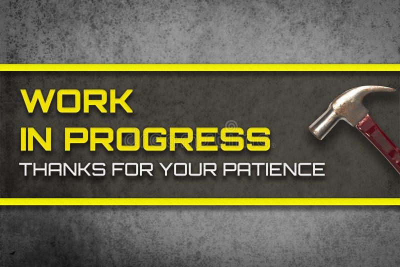Im Entstehen befindliches Werk-Dank für Ihre Geduldsfahne stockfoto