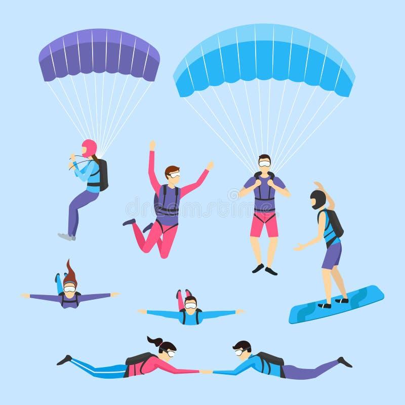 Im freien Fall springende Zeichentrickfilm-Figuren und Fallschirmspringenleute-Satz Vektor vektor abbildung