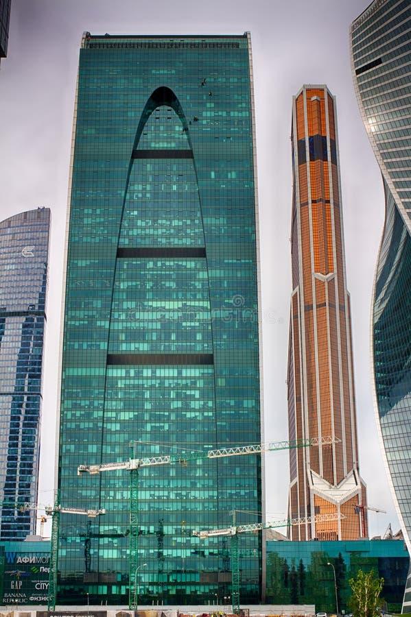 Im Freien, Tag Das Geschäftszentrum in Russland Leitung von Geldtransaktionen MOSKAU RUSSLAND lizenzfreie stockfotografie