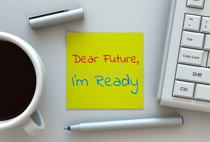 Im futuro caro aspetta, messaggio su carta per appunti, computer e caffè sulla tavola illustrazione vettoriale