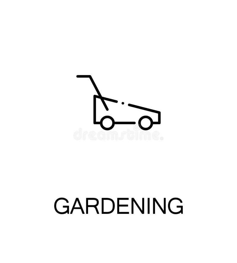 Im Garten arbeitende flache Ikone lizenzfreie abbildung