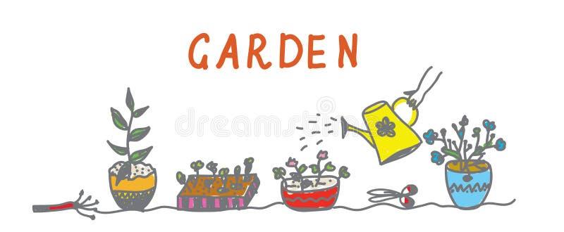 Download Im Garten Arbeitenfahne Mit Blumen Und Instrumenten Vektor Abbildung - Illustration von auszug, graphik: 26374883