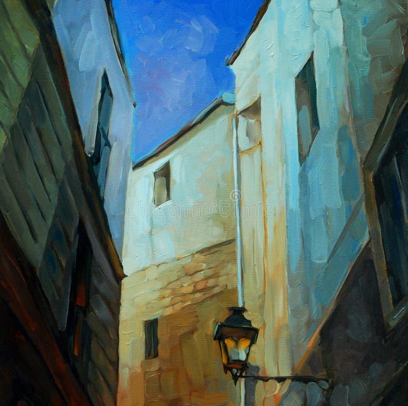 Im gotischen Viertel von Barcelona, malend lizenzfreie abbildung