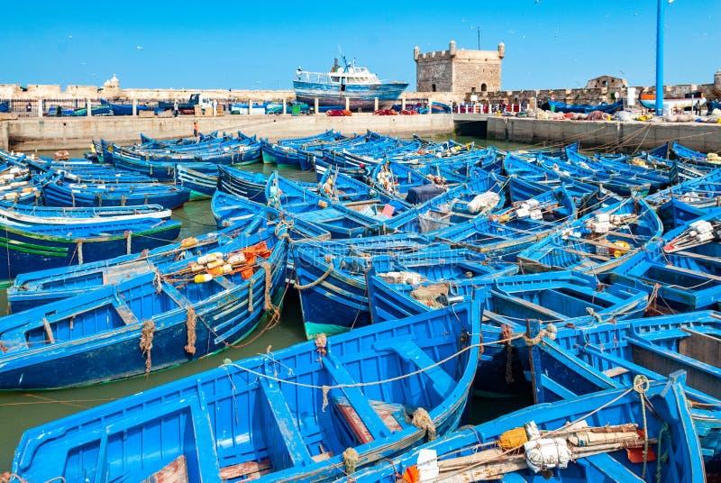 Im Hafen von Essaouira stockfoto