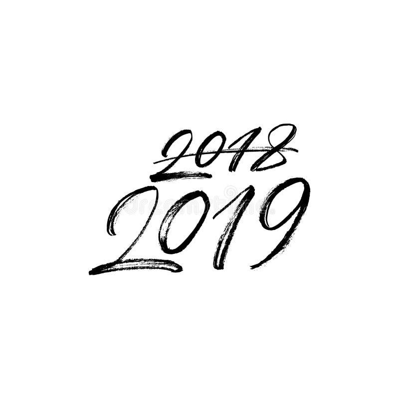 2018 im Jahre 2019 korrigiert, 2019-guten Rutsch ins Neue Jahr-Text lokalisiert auf weißem Hintergrund stockfotos
