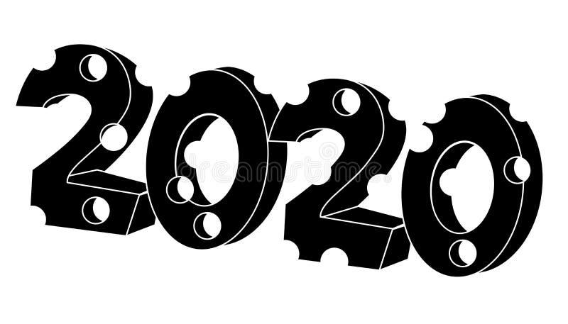 2020 im K?seformjahr der Ratte Getrennte vektorabbildung lizenzfreie abbildung