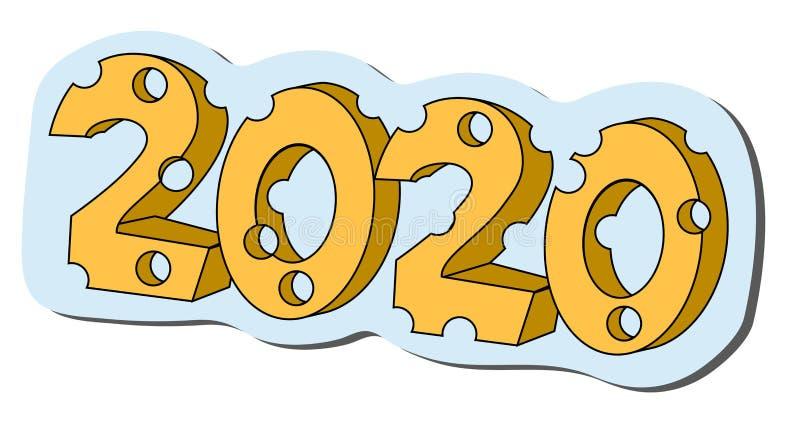 2020 im K?seformjahr der Ratte Lokalisierte Vektorillustration auf Lager lizenzfreie abbildung