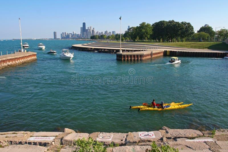 Im Norden Strand des Michigansees in Chicago lizenzfreies stockfoto