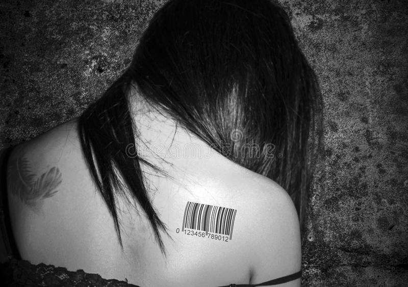 Im Not For Sale Barcoded. Im not for sale, anti Human Trafficking image. with barcode on back, in Black and White stock images