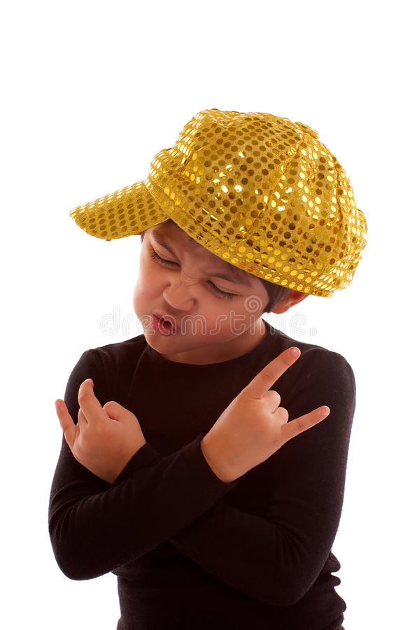 Im Real Dude. Little Boy in Golden Cap Imitated Real Dude on the Block isolated on white background stock images