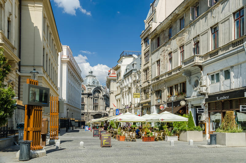 Im Stadtzentrum gelegene alte Mitte in Bukarest stockfotos