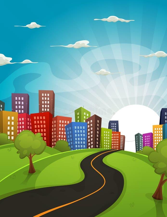 Im Stadtzentrum gelegene Karikatur-Landschaft stock abbildung