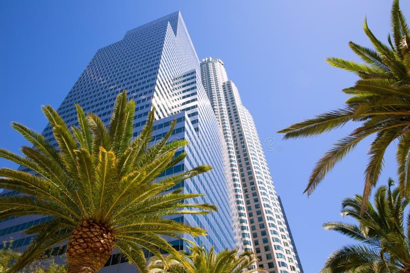 Im Stadtzentrum gelegene LA Los Angeles-Skyline Kalifornien-Palmen lizenzfreie stockbilder
