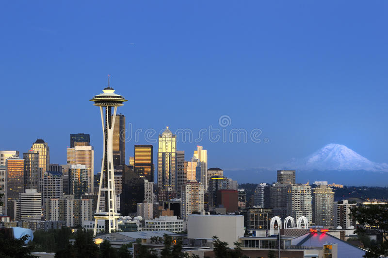 Im Stadtzentrum gelegene Seattle-Skyline stockfoto