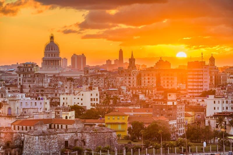 Im Stadtzentrum gelegene Skyline Havanas, Kuba von oben stockfoto