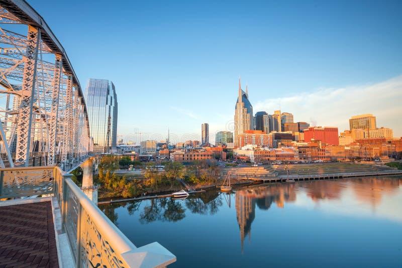 Im Stadtzentrum gelegene Skyline Nashville-, Tennessee stockfotografie
