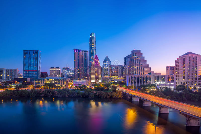 Im Stadtzentrum gelegene Skyline von Austin, Texas stockfotografie