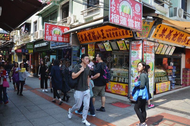 Im Stadtzentrum gelegene Straße in Macao, China lizenzfreies stockfoto