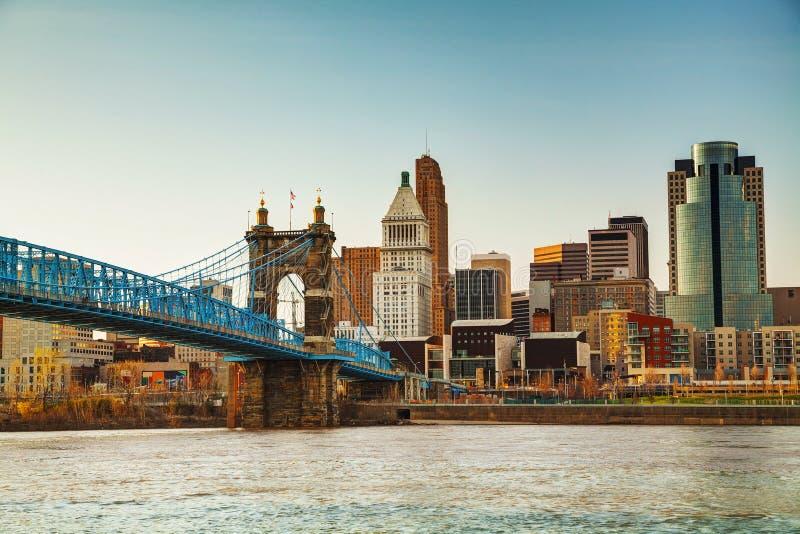 Im Stadtzentrum gelegener Überblick Cincinnatis stockfoto