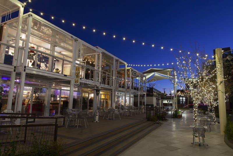 Im Stadtzentrum gelegener Behälter-Park in Las Vegas, Nanovolt am 10. Dezember 2013 lizenzfreies stockfoto