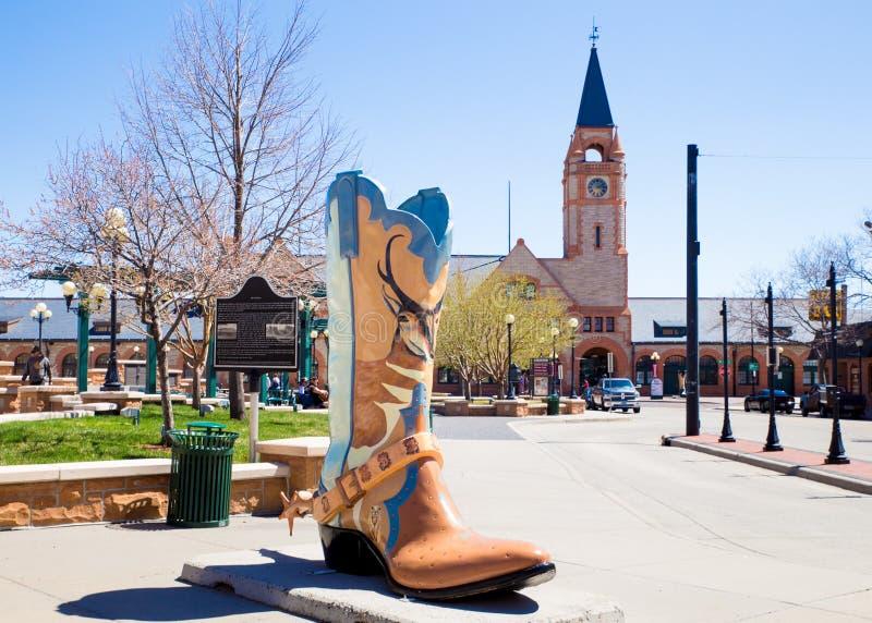 Im Stadtzentrum gelegener Bezirk und Stiefel Cheyenne Wyomings lizenzfreies stockfoto