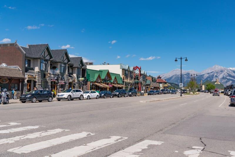 Im Stadtzentrum gelegener Jaspis, Alberta, Kanada stockfotos