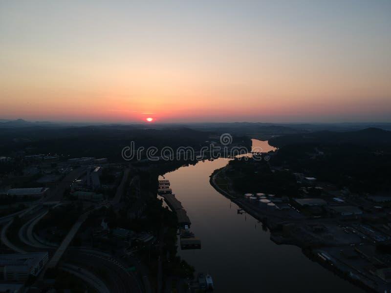 Im Stadtzentrum gelegener Knoxville-Sonnenaufgang stockbild