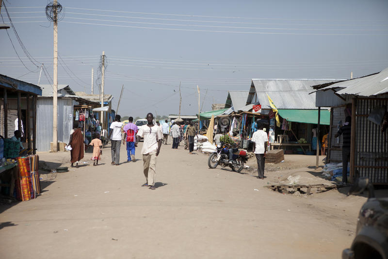 Im Stadtzentrum gelegener Markt, Bor Sudan stockfoto