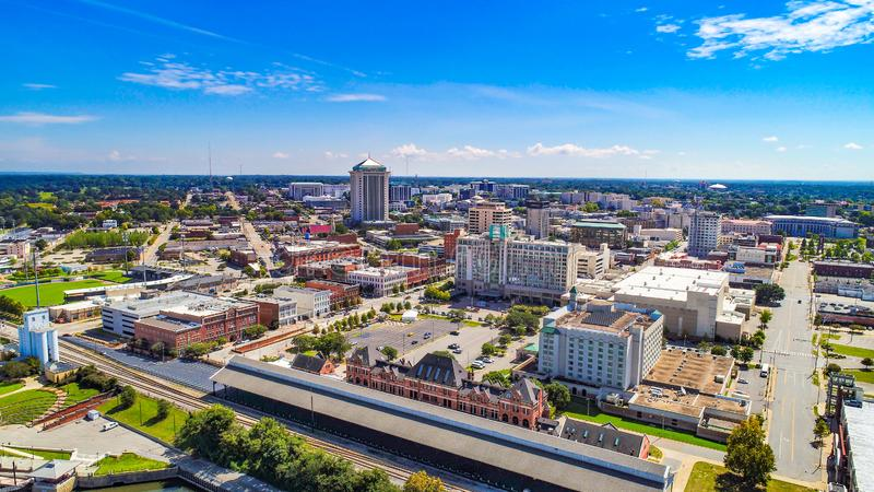 Im Stadtzentrum gelegener Montgomery Alabama AL Skyline Aerial stockbilder