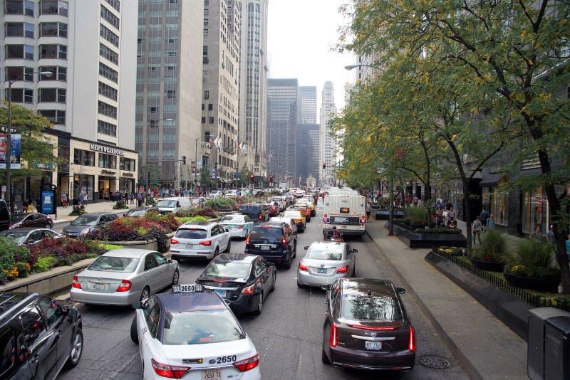 Im Stadtzentrum gelegener Stau Chicagos Illinois stockbilder