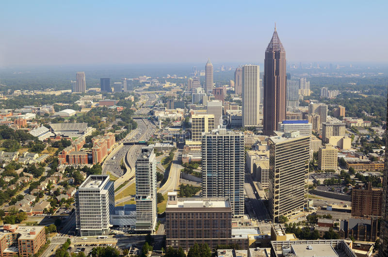 Im Stadtzentrum gelegenes Atlanta-Stadtbild stockfotografie