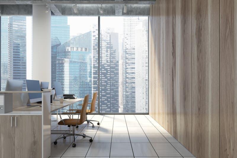 Im Stadtzentrum gelegenes Büro des Dachbodens, Beige sitzt Nahaufnahme vor vektor abbildung