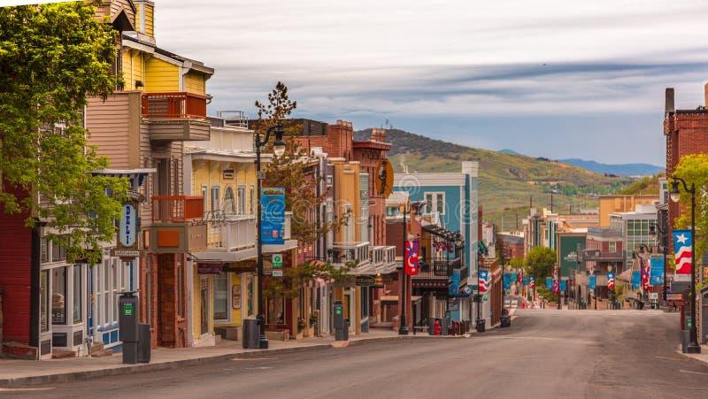 Im Stadtzentrum gelegenes buntes Park City Utah lizenzfreies stockfoto
