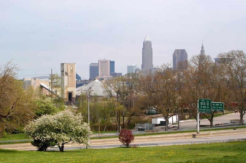 Im Stadtzentrum Gelegenes Cleveland Von Fern Lizenzfreie Stockfotos