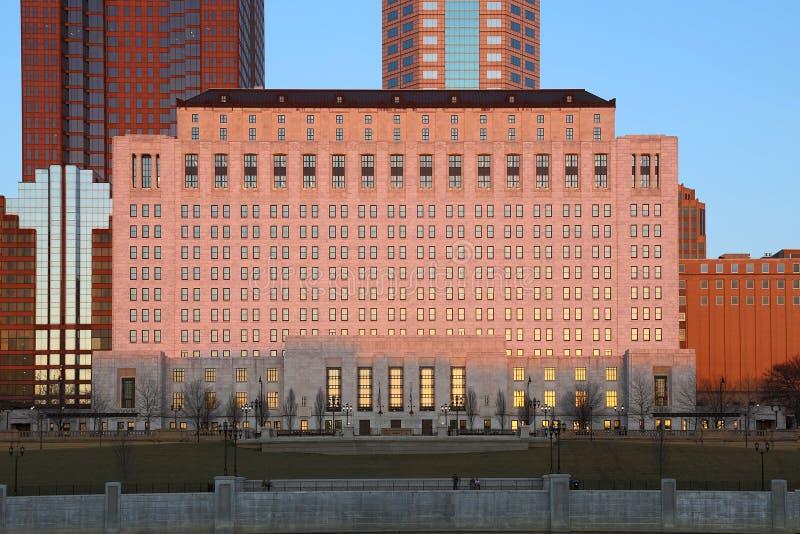 Im Stadtzentrum gelegenes Columbus, Ohio an der Dämmerung lizenzfreies stockfoto