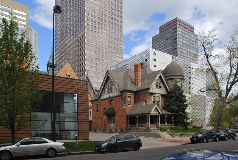 Im Stadtzentrum gelegenes Denver-Stadtbild USA stockfotos