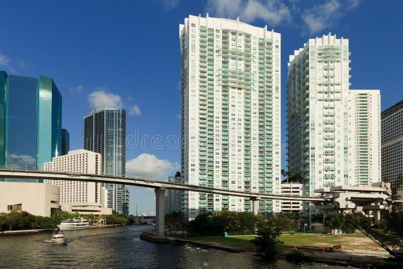Im Stadtzentrum gelegenes Miami Riverwalk stockbilder