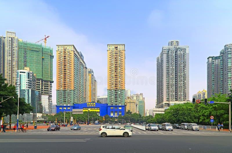 Im Stadtzentrum gelegenes Porzellan: Guangzhou-tianhe Bereich stockbilder