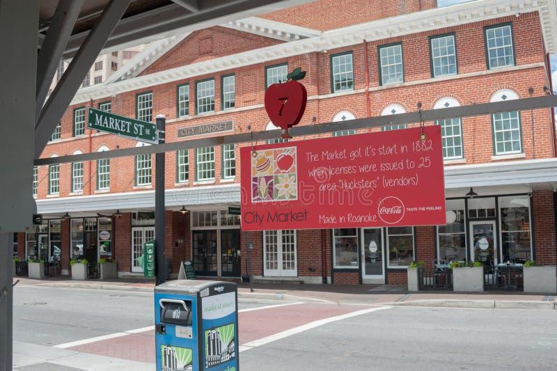 Im Stadtzentrum gelegenes Roanoke stockbilder