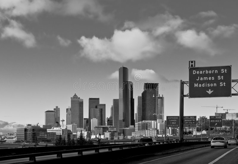 Im Stadtzentrum gelegenes Seattle stockbild