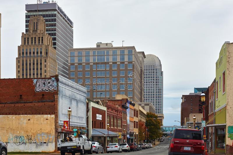 Im Stadtzentrum gelegenes Winston-Salem, North Carolina lizenzfreie stockfotos