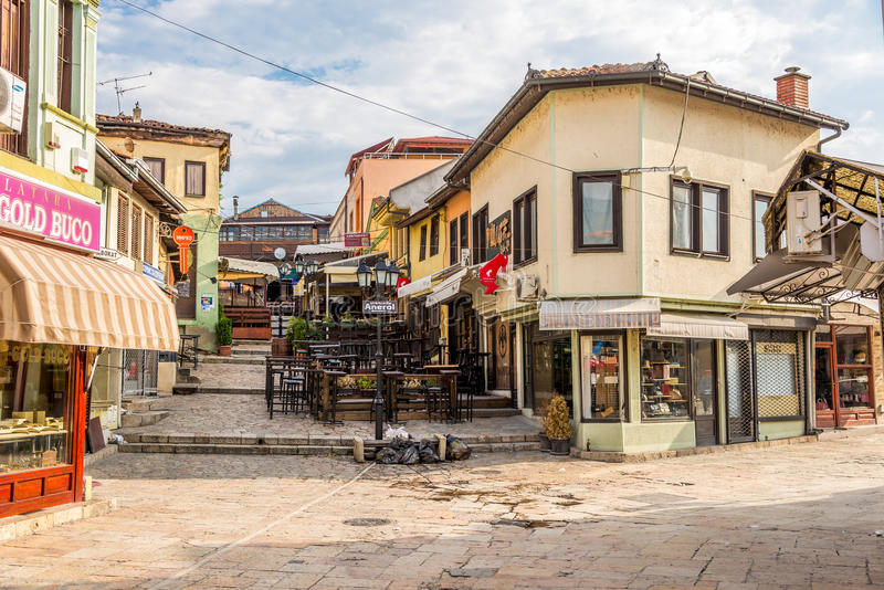 Im Straßen alten Basar der Stadt Skopje lizenzfreie stockfotografie